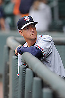 Manager Jonathan Schuerholz (2) of the Rome Braves prior to a game against the Greenville Drive on Thursday, July 31, 2014, at Fluor Field at the West End in Greenville, South Carolina. Rome won the rain-shortened game, 4-1. (Tom Priddy/Four Seam Images)