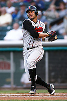 August 12, 2009: Erick Almonte of the Nashville Sounds, Pacific Cost League Triple A affiliate of the Milwaukee Brewers, during a game at the Spring Mobile Ballpark in Salt Lake City, UT.  Photo by:  Matthew Sauk/Four Seam Images