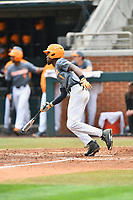 Tennessee Volunteers center fielder Brodie Leftridge (1) swings at a pitch during a game against the University of North Carolina Greensboro (UNCG) Spartans at Lindsey Nelson Stadium on February 24, 2018 in Knoxville, Tennessee. The Volunteers defeated Spartans 11-4. (Tony Farlow/Four Seam Images)