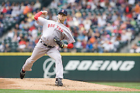 July 23, 2008: Boston Red Sox righthander Clay Buchholz toes the rubber against the Seattle Mariners at Safeco Field in Seattle, Washington.