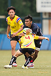 Muhamad Hanis Bin Mohamad (r) of Malaysia fights for the ball during the match between Malaysia and Thailand of the Asia Rugby U20 Sevens Series 2016 on 12 August 2016 at the King's Park, in Hong Kong, China. Photo by Marcio Machado / Power Sport Images