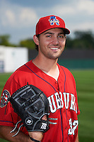 Auburn Doubledays pitcher Grant Borne (37) poses for a photo before a game against the Batavia Muckdogs on September 7, 2015 at Falcon Park in Auburn, New York.  Auburn defeated Batavia 11-10 in ten innings.  (Mike Janes/Four Seam Images)