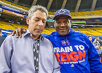 1 April 2016: Toronto Blue Jays baserunning and outfield coach Tim Raines, and former Montreal Expo, poses with Montreal broadcaster Elliott Price prior to a pre-season exhibition game between the Blue Jays and the Boston Red Sox at Olympic Stadium in Montreal, Quebec, Canada. The Red Sox defeated the Blue Jays 4-2 in the first of two MLB weekend exhibition games, which saw an attendance of 52,682 at the former home on the Montreal Expos. Mandatory Credit: Ed Wolfstein Photo *** RAW (NEF) Image File Available ***