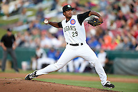 Kane County Cougars pitcher Duane Underwood (29) delivers a pitch during a game against the Quad Cities River Bandits on August 14, 2014 at Third Bank Ballpark in Geneva, Illinois.  Kane County defeated Quad Cities 4-1.  (Mike Janes/Four Seam Images)