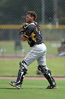 Pittsburgh Pirates catcher Yoel Gonzalez (39) during an Instructional League game against the Tampa Bay Rays on September 27, 2014 at the Charlotte Sports Park in Port Charlotte, Florida.  (Mike Janes/Four Seam Images)