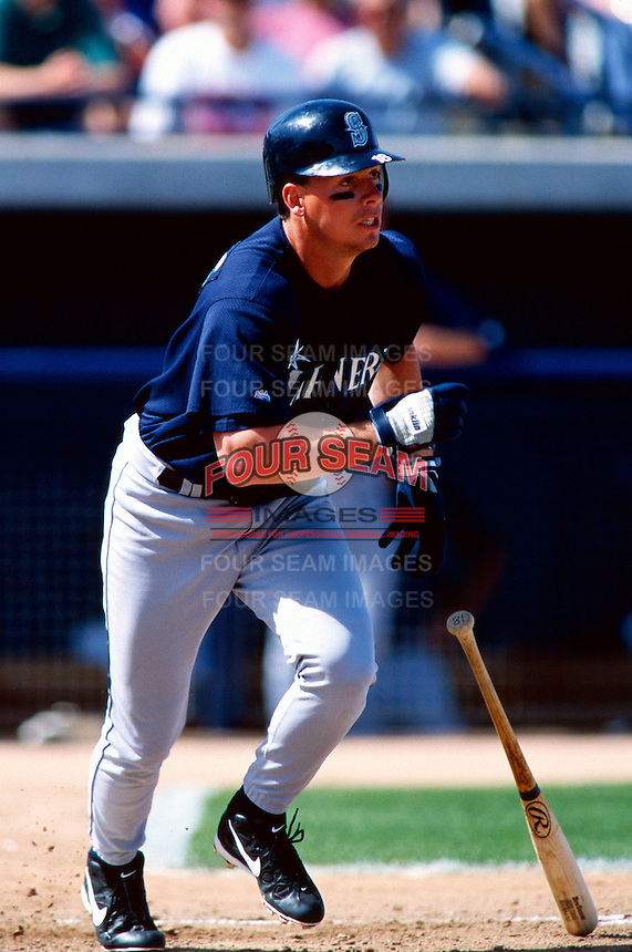 Russ Davis of the Seattle Mariners participates in a Major League Baseball Spring Training game during the 1998 season in Phoenix, Arizona. (Larry Goren/Four Seam Images)