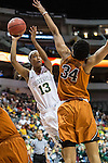 center Imani McGee-Stafford (34)  defends forward Nina Davis (13) during Big 12 women's basketball championship final, Sunday, March 08, 2015 in Dallas, Tex. (Dan Wozniak/TFV Media via AP Images)