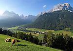 Italy, South Tyrol, Alto Adige, Dolomites, Val di Sesto, Sesto Pusteria with Cima Croda Rossa, Cima Undici, Croda dei Toni and Monte Casella mountains