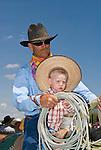 Jordan Valley Big Loop Rodeo..Mike Smit with his grandson Jacob on horseback