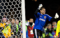 SEATTLE, WA--Real Salt Lake goalkeeper Nick Rimando celebrates a blocked penalty kick during the MLS Cup championships at Qwest field in Seattle. SUNDAY, NOVEMBER 22, 2009. PHOTO BY DON FERIA.
