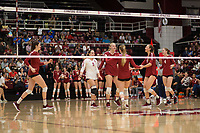 STANFORD, CA - NOVEMBER 17: Stanford, CA - November 17, 2019: Audriana Fitzmorris, Morgan Hentz, Kathryn Plummer, Jenna Gray, Madeleine Gates, Meghan McClure at Maples Pavilion. #4 Stanford Cardinal defeated UCLA in straight sets in a match honoring neurodiversity. during a game between UCLA and Stanford Volleyball W at Maples Pavilion on November 17, 2019 in Stanford, California.