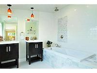 Citrus Avenue Farmhouse, Escondido, CA. Detail of new bathroom. Jen Landau Prior, designer.