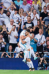 Marco Asensio Willemsen of Real Madrid celebrates scoring with teammate Nacho Fernandez during their La Liga 2017-18 match between Real Madrid and Valencia CF at the Estadio Santiago Bernabeu on 27 August 2017 in Madrid, Spain. Photo by Diego Gonzalez / Power Sport Images