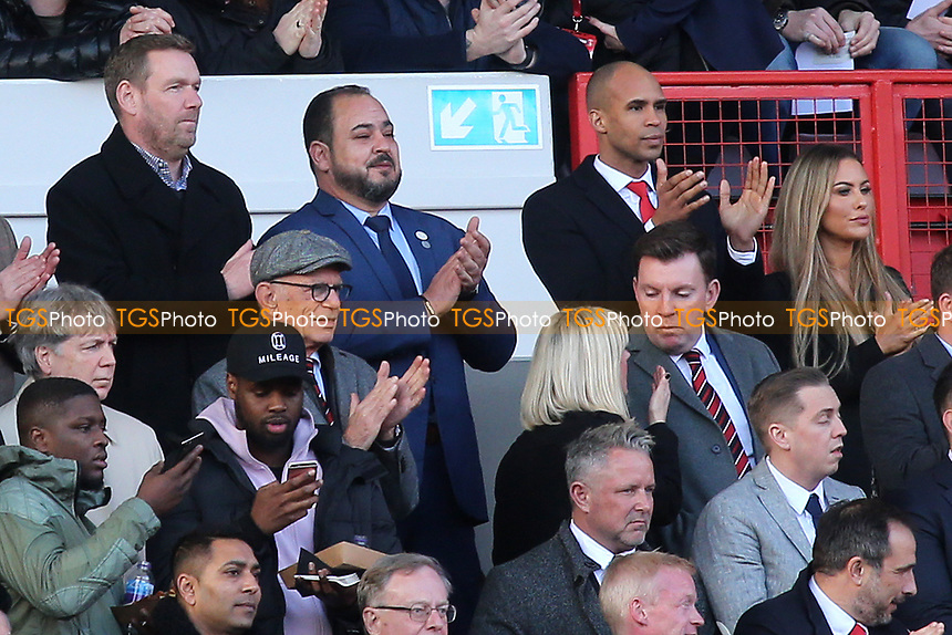 Charlton's new Chairman, Matt Southall (Top, far right) and new Charlton Athletic Owner, His Excellency Tahnoon Nimer (Top row, middle) applaud the two teams onto the pitch during Charlton Athletic vs Barnsley, Sky Bet EFL Championship Football at The Valley on 1st February 2020
