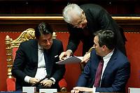 Italian Premier Giuseppe Conte, Senator Mario Monti and Vincenzo Amendola minister of European affairs<br /> Rome February 18th 2020. Senate. Speech of the Italian Premier about the next European Council.<br /> Foto Samantha Zucchi Insidefoto