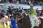 June 7, 2014: #1 Palace Malice, winner of last year's Belmont Stakes, wins the 121st running of the Metropolitan at Belmont Park , Elmont, NY. Jockey is John Velazquez, trainer is Todd Pletcher.   ©Joan Fairman Kanes/ESW/CSM