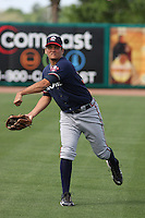 Luis Avilan #38 of the Rome Braves throwing in the outfield before a game against the Charleston RiverDogs on April 27, 2010  in Charleston, SC.