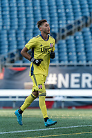 FOXBOROUGH, MA - JULY 25: USL League One (United Soccer League) match. Joe Rice #51 of New England Revolution II during a game between Union Omaha and New England Revolution II at Gillette Stadium on July 25, 2020 in Foxborough, Massachusetts.