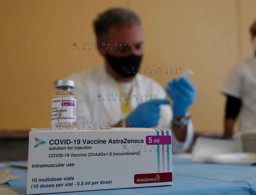 A vial of the AstraZeneca coronavirus disease (COVID-19) vaccine is seen, in Vaccine Center of Stazione Marittima in Naples