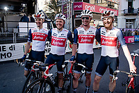 race winner Jasper Stuyven's (BEL/Trek-Segafredo) teammates waiting in front of the podium to cheer for their winning friend.<br /> <br /> 112th Milano-Sanremo 2021 (1.UWT)<br /> 1 day race from Milan to Sanremo (299km)<br /> <br /> ©kramon