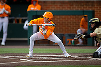 Tennessee Volunteers second baseman Max Ferguson (4) at bat against the Vanderbilt Commodores on Robert M. Lindsay Field at Lindsey Nelson Stadium on April 17, 2021, in Knoxville, Tennessee. (Danny Parker/Four Seam Images)