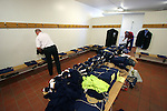 Faroe Islands 0 Scotland 2, 06/06/2007. European Championship Qualifier. Backroom staff laying out the Scotland team kit in the away dressing room before the Euro 2008 group B qualifying match at the Svangaskard stadium in Toftir between the Faroe Islands and Scotland. The visitors won the match by 2 goals to nil to stay in contention for a place at the European football championships which were to be held in Switzerland and Austria in the Summer of 2008. It was the first time Scotland had won in the Faroes, the previous two matches ended in draws. Photo by Colin McPherson.
