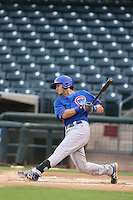 Tyler Alamo #8 of the AZL Cubs bats against the AZL Rangers at Surprise Stadium on July 6, 2014 in Surprise, Arizona. AZL Rangers defeated the AZL Cubs, 7-5. (Larry Goren/Four Seam Images)