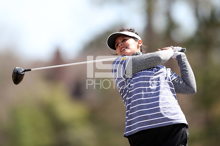 WALLACE, NC - MARCH 09: Ankita Kedlaya of East Tennessee State University tees off on the 13th hole of the River Course at River Landing Country Club on March 09, 2020 in Wallace, North Carolina.