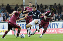 13/09/2008  Copyright Pic: James Stewart.File Name : sct_jspa22_falkirk_v_hearts.NEIL MCCANN TRIES TO FIGHT OFF EGGERT JONSSON AND LARYEA KINGSTON.James Stewart Photo Agency 19 Carronlea Drive, Falkirk. FK2 8DN      Vat Reg No. 607 6932 25.James Stewart Photo Agency 19 Carronlea Drive, Falkirk. FK2 8DN      Vat Reg No. 607 6932 25.Studio      : +44 (0)1324 611191 .Mobile      : +44 (0)7721 416997.E-mail  :  jim@jspa.co.uk.If you require further information then contact Jim Stewart on any of the numbers above........