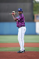 Charlotte Stone Crabs starting pitcher Willy Ortiz (38) gets ready to deliver a pitch during a game against the Palm Beach Cardinals on April 21, 2018 at Charlotte Sports Park in Port Charlotte, Florida.  Charlotte defeated Palm Beach 5-2.  (Mike Janes/Four Seam Images)