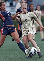 Pepperdine University forward/midfielder Ally Holtz (2) challenges Boston College midfielder Lauren Bernard (5). Pepperdine University defeated Boston College,1-0, at Soldiers Field Soccer Stadium, on September 29, 2012.