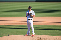 Salt River Rafters relief pitcher Hector Lujan (35), of the Minnesota Twins organization, looks in for the sign during an Arizona Fall League game against the Surprise Saguaros at Salt River Fields at Talking Stick on November 5, 2018 in Scottsdale, Arizona. Salt River defeated Surprise 4-3 . (Zachary Lucy/Four Seam Images)