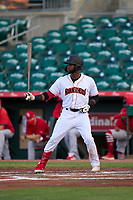Jupiter Hammerheads Diowill Burgos (15) bats during a game against the Palm Beach Cardinals on May 11, 2021 at Roger Dean Chevrolet Stadium in Jupiter, Florida.  (Mike Janes/Four Seam Images)