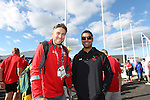 Glasgow 2014 Commonwealth Games<br /> Flag raising ceremony to welcomes Team Wales to the athletes village.<br /> Ryan Jones and Richard Parks.<br /> 21.07.14<br /> ©Steve Pope-SPORTINGWALES