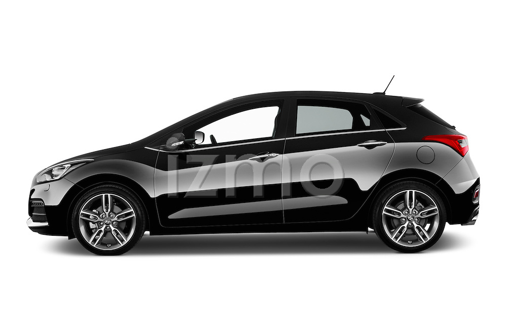 Car driver side profile view of a 2015 Hyundai I30 Turbo 5 Door Hatchback