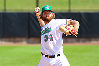 Clinton LumberKings pitcher Kyle Wilcox (34) warms up in the bullpen during a Midwest League game against the Lansing Lugnuts on July 15, 2018 at Ashford University Field in Clinton, Iowa. Clinton defeated Lansing 6-2. (Brad Krause/Four Seam Images)