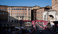 an almost empty Piazza Del Campo finish in Siena<br /> <br /> 14th Strade Bianche 2020<br /> Siena > Siena: 184km (ITALY)<br /> <br /> delayed 2020 (summer!) edition because of the Covid19 pandemic > 1st post-Covid19 World Tour race after all races worldwide were cancelled in march 2020 by the UCI