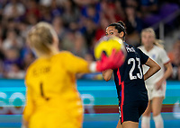 ORLANDO, FL - MARCH 05: Christen Press #23 of the United States looks back during a game between England and USWNT at Exploria Stadium on March 05, 2020 in Orlando, Florida.