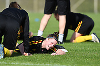 20190226 - LARNACA , CYPRUS :  Belgian Laura Deloose (r) pictured during a Matchday -1 training from The Belgian Red Flames prior to their game against the women team of Slovakia , on Tuesday 26 February 2019 at the Alpha Sports Grounds in Larnaca , Cyprus . This will be the first game in group C for Belgium during the Cyprus Womens Cup 2019 , a prestigious women soccer tournament as a preparation on the European Championship 2021 qualification duels. PHOTO SPORTPIX.BE   DAVID CATRY