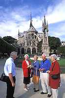 Retired Tourists Notre Dame Cathedral Paris, France