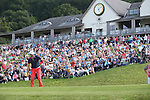Frenchman Gregory Bourdy watches his birdie putt on the 18th go in to win the ISPS Handa Wales Open 2013 at the<br /> Celtic Manor Resort.<br /> 01.09.13<br /> <br /> ©Steve Pope-Sportingwales