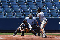 Daytona Tortugas outfielder Phillip Ervin (6) at bat in front of catcher Armando Araiza (19) and umpire Alex Mackay during a game against the Charlotte Stone Crabs on April 14, 2015 at Charlotte Sports Park in Port Charlotte, Florida.  Charlotte defeated Daytona 2-0.  (Mike Janes/Four Seam Images)