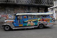 Philippines, Manila, 5 march, 2008..Colorful jeepney in Intramuros the oldest district of the city of Manila...Kleurrijke jeepney in Intramuros, het oudste district van Manila, de hoofdstad van de Filippijnen...Photo Kees Metselaar