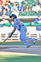 Pensacola Blue Wahoos shortstop Blake Trahan (7) swings at a pitch during a game against the Tennessee Smokies at Smokies Stadium on August 5, 2017 in Kodak, Tennessee. The Smokies defeated the Blue Wahoos 6-2. (Tony Farlow/Four Seam Images)