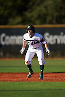 Chicago State Cougars center fielder Matt Paciello (34) leads off second base during a game against the Georgetown Hoyas on March 3, 2017 at North Charlotte Regional Park in Port Charlotte, Florida.  Georgetown defeated Chicago State 11-0.  (Mike Janes/Four Seam Images)
