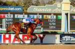 ARCADIA, CA  MARCH 6: #6 Brickyard Ride, ridden by Alexis Centeno, wins the San Carlos Stakes (Grade ll) on March 6, 2021 at Santa Anita Park in Arcadia, CA.  (Photo by Casey Phillips/EclipseSportswire/CSM)