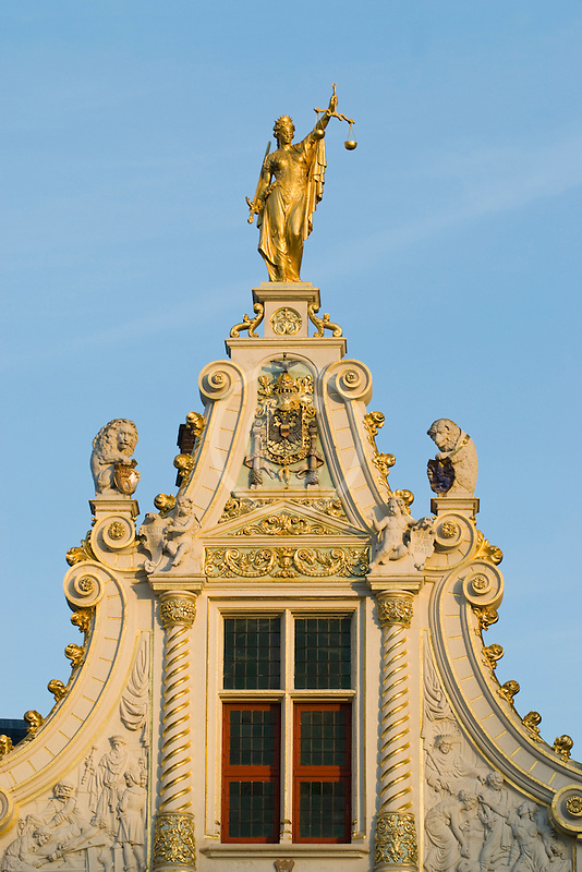 Belgium, Bruges, City Hall, architectural detail