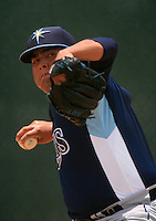 GCL Rays pitcher Mike Franco (10) warms up in the bullpen during a game against the GCL Twins on July 2, 2014 at Lee County Sports Complex in Fort Myers, Florida.  GCL Rays defeated the GCL Twins 4-3.  (Greg Wagner/Four Seam Images)