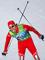 USA's Andrew Newell crosses the finish line in the men's  team sprint freestyle final at the XXI Olympic Winter Games Monday, February 22, 2010 at Whistler Olympic Park in Whistler, BC.  He and teammate Torin Koos finished 9th.