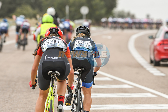 Carolina Esteban Fernandez (ESP) Rio Miera–Cantabria Deporte and Lydia Iglesias Bares (ESP) Cronos-Casa Dorada Women Cycling get dropped during Stage 1 of the CERATIZIT Challenge by La Vuelta 2020, running 82.8km from Toledo to Escalona, Spain. 6th November 2020.<br /> Picture: Antonio Baixauli López/BaixauliStudio | Cyclefile<br /> <br /> All photos usage must carry mandatory copyright credit (© Cyclefile | Antonio Baixauli López/BaixauliStudio)